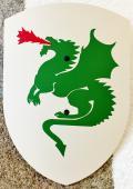 Bouclier dragon vert 27 x 37 cm courbé