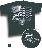 T-shirt carte Bretagne, gwenn ha du, hermine