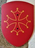 Bouclier croix occitane 27 x 37 cm courbé