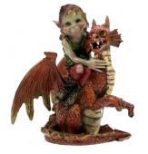 Elfe sur son dragon orange