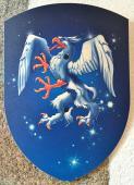 Bouclier Merlin, bleu 27 x 37 cm courbé