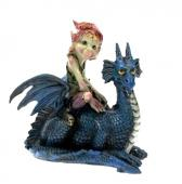 Elfe sur son dragon bleu
