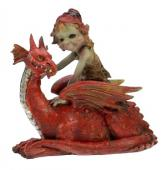Elfe sur son dragon rouge