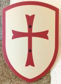Bouclier templier blanc/rouge 27 x 37 cm courbé
