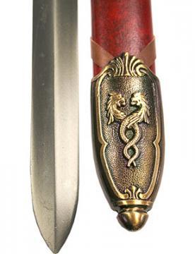 Epée excalibur + fourreau simili cuir rouge
