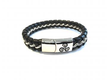 Bracelet tressé cuir et acier triskell