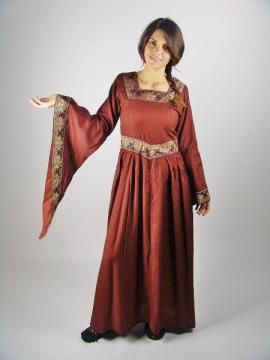 Robe médiévale viscose rouge