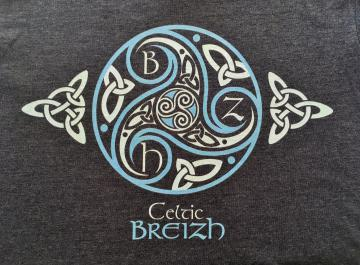 T- Shirt triskell bleu chiné