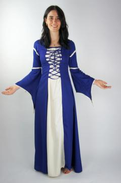 Robe médiévale avec manches trompette bleu/écru
