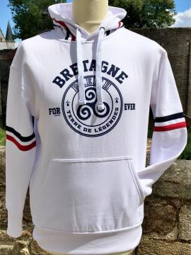 Sweat capuche blanc Bretagne forever