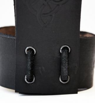Porte- corne en cuir noir