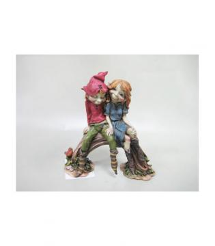 Couple d'elfes amoureux sur pont 12x12 cm