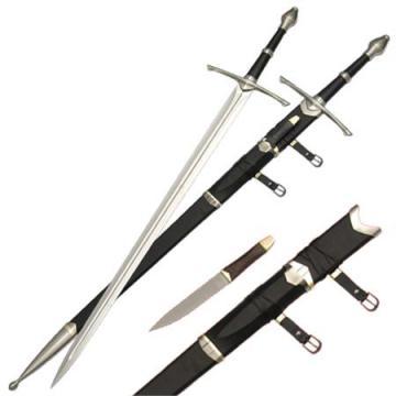 Epée d'Aragorn (Le Seigneur des Anneaux ) + fourreau avec couteau + support mural