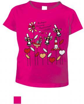 T-shirt fille marguerite fushia