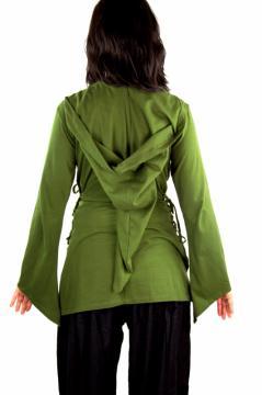 """Chemisier """"Lea"""" en coton avec lacets- Vert olive"""