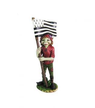 Elfe avec drapeau breton 14 cm