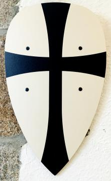 Bouclier templier noir/blanc 30 x 50 cm courbé