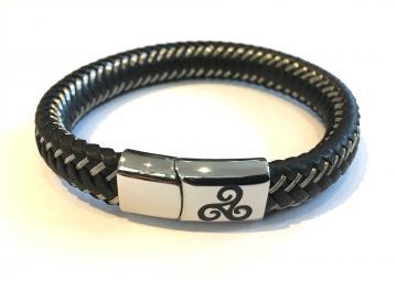 Bracelet tressé cuir et acier