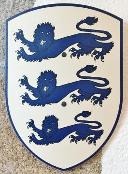 Bouclier 3 lions bleus 27 x 37 cm courbé