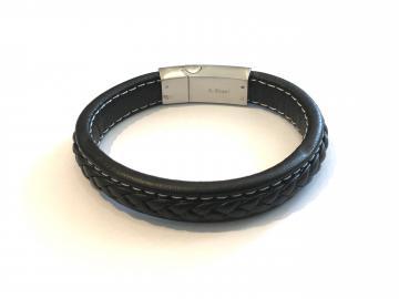 Bracelet cuir et acier triskell