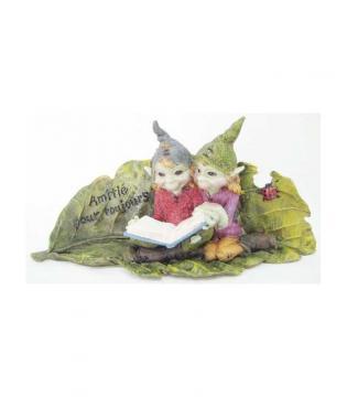 """Couple d'elfes sur feuille avec livre """"amitié pour toujours"""" 18x9 cm"""