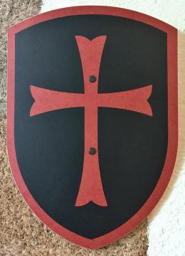 Bouclier templier noir/rouge 27 x 37 cm courbé