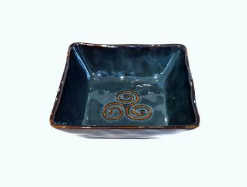 coupelle carrée bretonne triskell bleu grès véritable 15x 15x 4,5cm