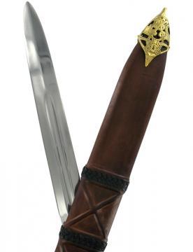 Epée de frappe viking avec fourreau en cuir tressé