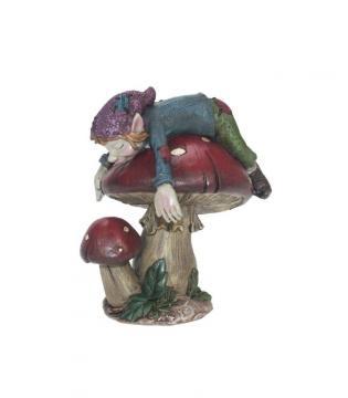 Elfe dormeur sur champignon 12x10 cm