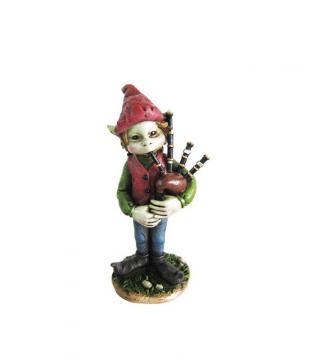 Elfe musicien cornemuse 13cm