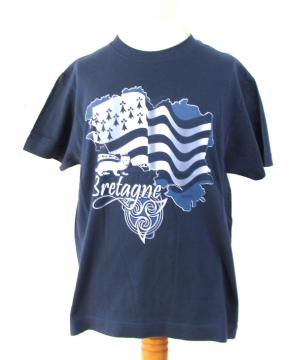 T-shirt Bretagne hermine bleu/gris