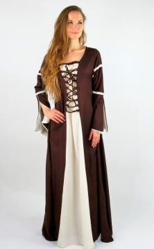 Robe médiévale avec manches trompette marron/ écru