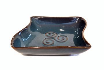 coupelle carrée vague bleue bretonne triskell 16x 15 x 4cm