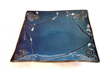 assiette plate bleue bretonne triskell grès véritable