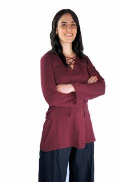 """Chemisier """"Lea"""" en coton avec lacets - Bordeaux"""
