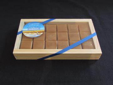 boîte bois tablette, caramels au beurre salé, 190g