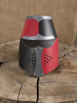 Casque normand noir/ rouge riveté avec visière