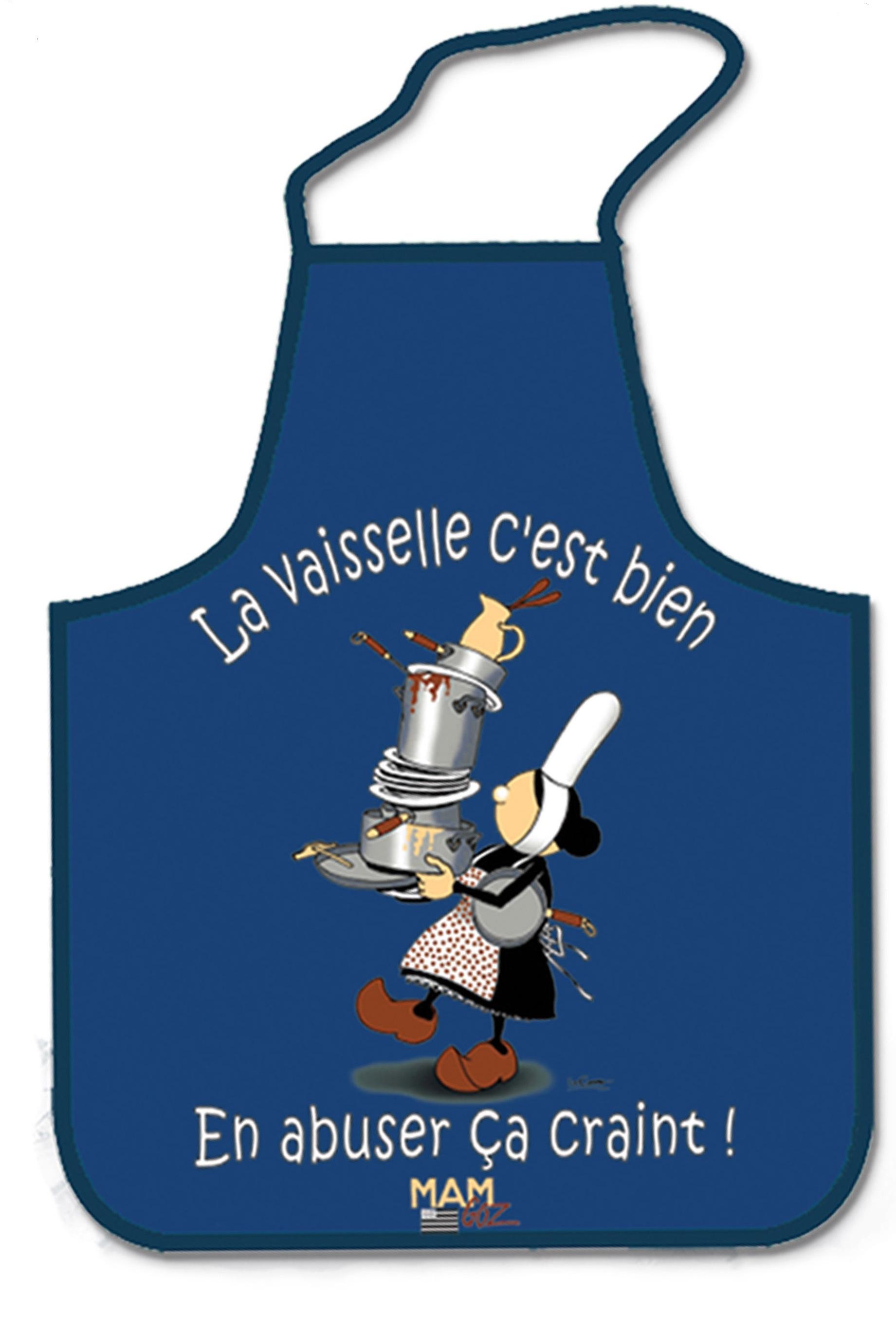 Tablier humoristique breton mam 39 goz la vaisselle c 39 est for Tablier cuisine humoristique